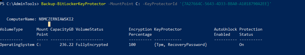 Get-BitLocker backup